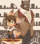 age_difference anthro black_eyes black_fur black_nose book brown_hair button_up_shirt clothed clothing crossed_arms cute duo eyewear feline footwear fur glasses green_eyes hair inner_ear_fluff kemono kemoshota looking_at_viewer male mammal moki orange_fur pants shoes shota size_difference smile young  Rating: Safe Score: 1 User: DirtyPrettyThings Date: February 06, 2016