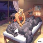 back biceps big_muscles black_nose brown_fur butt candle canine clothing cougar dog duo eyes_closed feline fur grey_fur hound_(character) lying male male/male mammal massage mixvariety muscular nude on_front pecs pink_nose shirt standing teeth vest  Rating: Questionable Score: 14 User: beartraps Date: November 12, 2015