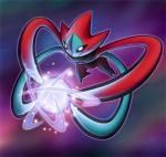 abstract_background attack blue_skin deoxys energy floating glowing legendary_pokémon nintendo outline pokémon red_skin solo video_games zaikudo