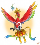avian beak bird claws ho-oh legendary_pokémon magic nintendo open_mouth pokémon rainbow simple_background solo talons tongue video_games wings  Rating: Safe Score: 0 User: dika Date: June 30, 2015