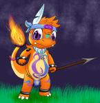 ankleband charmander charmandrigo charmandrigo_(character) chubby clothing cute_fangs headband jewelry loincloth melee_weapon nintendo peeking pokémon polearm solo spear tribal video_games weapon wristband  Rating: Questionable Score: 5 User: charmandrigo Date: July 28, 2015