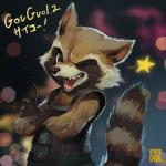 anthro brown_fur claws clothed clothing english_text fur guardians_of_the_galaxy hi_res japanese_text male mammal marvel one_eye_closed ovopack procyonid raccoon rocket_raccoon solo tan_fur teeth text white_fur wink