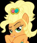 "absurd_res alpha_channel applejack_(mlp) blonde_hair dasprid equine female feral friendship_is_magic fur green_eyes hair half-closed_eyes hi_res horse looking_at_viewer mammal my_little_pony orange_fur pony pose smile solo  Rating: Safe Score: 2 User: Jatix Date: April 08, 2014"""