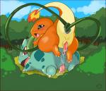 2014 anal anal_insertion anal_penetration anus blush bulbasaur charmander cum cum_in_ass cum_inside cum_on_penis digital_media_(artwork) duo erection feral feral_on_feral fire harumi insertion male male/male nintendo open_mouth orange_body outside penetration penis pokémon sex tapering_penis tongue tree video_games   Rating: Explicit  Score: 10  User: Finchmaster  Date: May 06, 2014