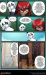2017 abluedeer anthro bear book breasts brown_fur chandra_(abluedeer) clothed clothing comic dialogue duo english_text eyewear feline female fur glasses hair hi_res lin_(abluedeer) male mammal moccha_(abluedeer) moon_lace navel panda red_hair text white_hair