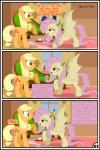 absurd_res applejack_(mlp) bat_pony blonde_hair earth_pony equine fangs feral flutterbat_(mlp) fluttershy_(mlp) friendship_is_magic green_eyes gutovi-kun hair hi_res horse mammal my_little_pony pegasus pink_hair pony red_eyes wings