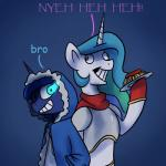 2015 anticularpony crossover duo english_text equine female feral friendship_is_magic horn mammal my_little_pony princess_celestia_(mlp) princess_luna_(mlp) text undertale video_games winged_unicorn wings  Rating: Safe Score: 14 User: Robinebra Date: October 31, 2015
