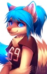 2012 anthro blue_eyes blue_hair breasts cute digital_media_(artwork) falvie female fluffy glowing hair jersey looking_at_viewer mammal meria raccoon simple_background solo white_background