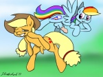 applejack_(mlp) balls dickgirl friendship_is_magic intersex my_little_pony nude penis rainbow_dash_(mlp) strebiskunk uncut   Rating: Explicit  Score: 0  User: SonicJordan  Date: April 20, 2014
