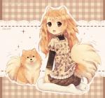 abstract_background ambiguous_gender animal_humanoid biped blep bottomwear brown_bottomwear brown_clothing brown_eyes brown_fur brown_nose brown_skirt canine canine_humanoid clothed clothing countershading cute cute_eyes cute_face dav-19 dog dog_humanoid duo eyebrows_visible_through_hair female feral fluffy fluffy_tail fully_clothed fur hair humanoid kneeling legwear long_hair looking_at_viewer looking_back looking_forward mammal momoko_(dav-19) orange_fur orange_hair pattern_background pomeranian pompon_(dav-19) quadruped shirt simple_background sitting skirt socks stockings tailwag tan_clothing tan_countershading tan_fur tan_hair tan_tail tan_theme tan_topwear thigh_socks tongue tongue_out topwear url white_clothing white_legwear