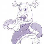 age_difference ambiguous_gender animal_ears antlers blush breasts caprine christmas clothing dress fake_antlers female food gloves goat hair holidays horn human lonbluewolf mammal monochrome panties pie protagonist_(undertale) ribbons size_difference smile toriel undertale underwear wide_hips   Rating: Questionable  Score: 10  User: DefinitelyNotAFurry  Date: March 01, 2015