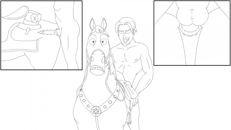 e621 16:9 anal anal_penetration balls bestiality black_and_white butt disney duo equine feral hi_res horse human human_on_feral internal interspecies male male/male male_on_feral mammal maximus monochrome penetration sex simple_background tangled_(movie) unknown_artist white_background