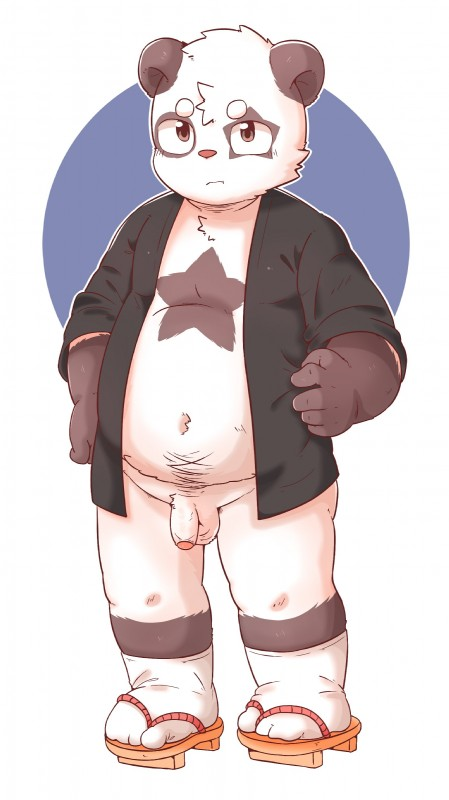 e621 absurd_res anthro balls bottomless clothed clothing cub flaccid footwear foreskin giant_panda hi_res humanoid_penis male mammal navel open_shirt partially_retracted_foreskin penis sandals slightly_chubby solo standing star_marking uncut ursid xiao_weiba young