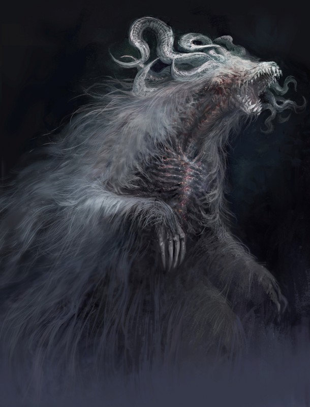 e621 absurd_res dark_souls dark_souls_3 fromsoftware hi_res horn monster nightmare_fuel official_art solo video_games