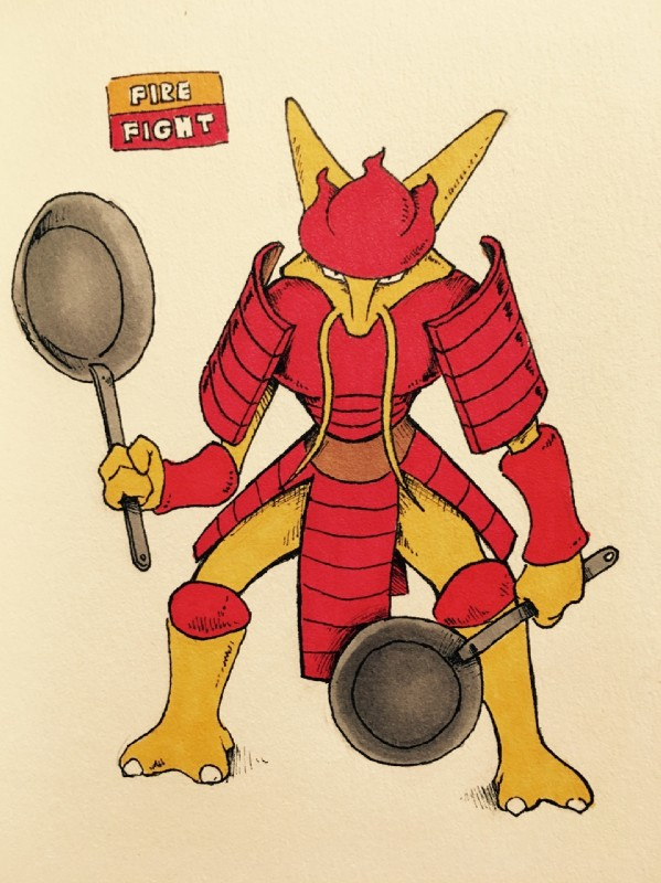 e621 2016 3_fingers 3_toes alakazam alternate_color ambiguous_gender anthro armor biped bottomless breastplate claws clothed clothing english_text fakémon firefightdex flesh_whiskers front_view frying_pan full-length_portrait hatching_(technique) helmet hi_res holding_object horn improvised_weapon looking_at_viewer mammal marker_(artwork) mfanjul mixed_media nintendo pen_(artwork) pokémon pokémon_(species) portrait samurai shadow shoulder_guards simple_background slit_pupils snout solo spread_legs spreading standing text toe_claws toes toony traditional_media_(artwork) video_games white_background white_claws wide_stance yellow_body yellow_horn