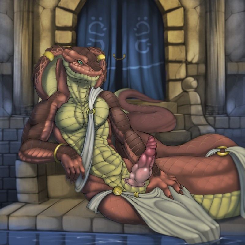 e621 2014 abs anthro archway biceps bracelet brown_scales brown_skin claws clothing cobra curtains erection hood_rings inside jewelry knot loincloth looking_at_viewer lounging male muscular naga nails pecs penis piercing presenting presenting_penis red_scales reptile scales scalie sitting slit slit_pupils smile snake snake_hood solo steps stone stonework teal_eyes tojo_the_thief water yellow_belly yellow_scales