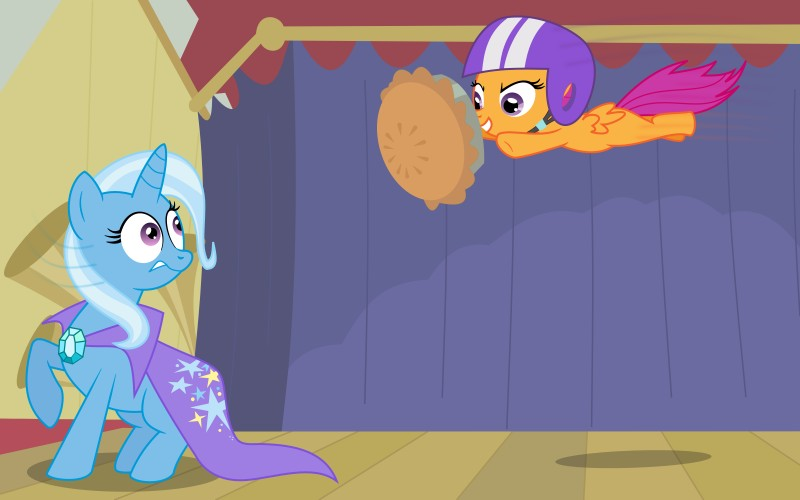 e621 absurd_res adcoon cape cub equine female feral friendship_is_magic hat head_turn helmet hi_res horn horse my_little_pony pegasus pie pony purple_eyes raised_hoof scootaloo_(mlp) shadow stage stars surprise trixie_(mlp) unicorn wings young