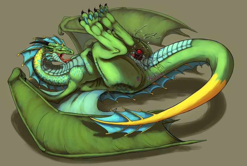 image Dragon dildo green and blue cum