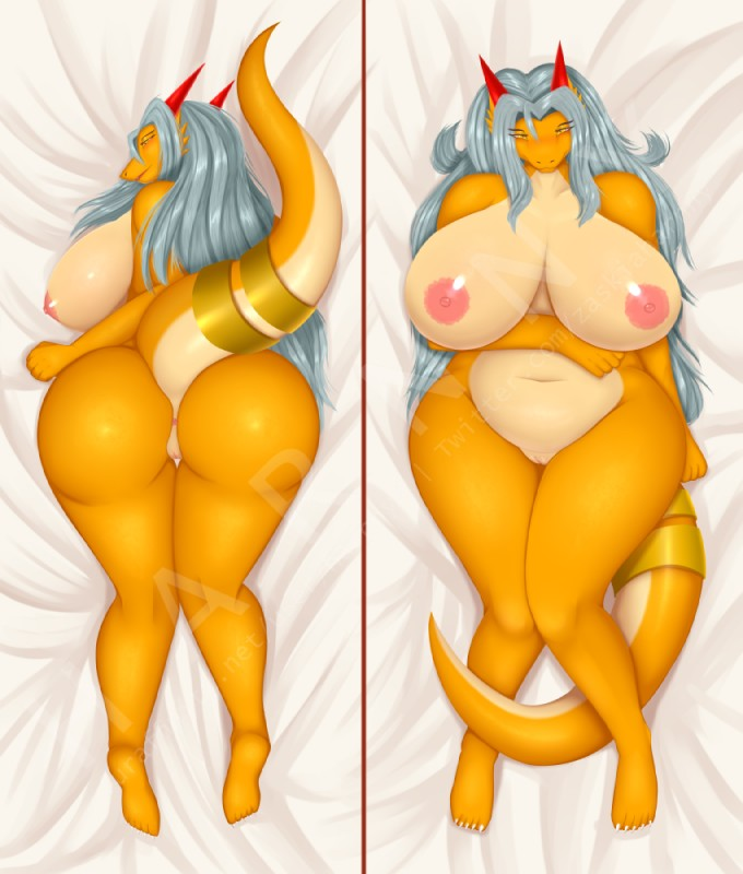 e621 aisyah_zaskia_harnny anthro big_breasts big_butt breasts butt dakimakura_design dragon female hair harnny hi_res horn huge_breasts looking_at_viewer nipples non-mammal_breasts pussy scalie slightly_chubby smile solo thick_thighs voluptuous wide_hips