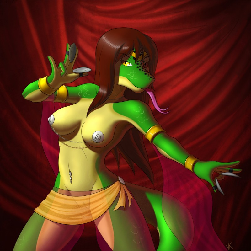 e621 armlet belly_dancer bracelet breasts clothed clothing dancing female jewelry lizard long_tongue looking_at_viewer navel_piercing nipple_chain nipples piercing pussy reptile scalie sh'sthress sh'sthress_(gingerm) skimpy solo tongue tongue_out translucent volkcreed