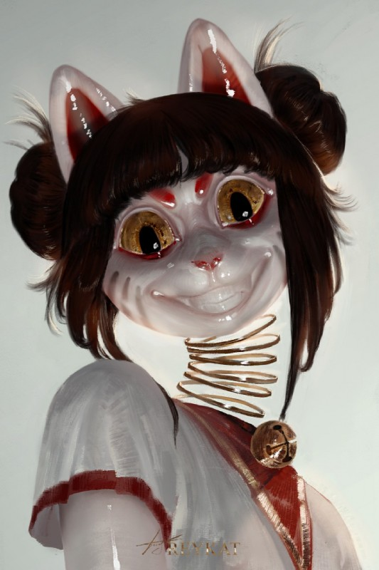 e621 2018 animate_inanimate anthro bell clothing creepy domestic_cat felid feline felis female fur geisha hair hi_res looking_at_viewer mammal nightmare_fuel reykat smile solo spring