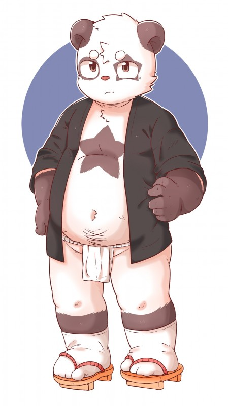 e621 absurd_res anthro clothed clothing cub footwear giant_panda hi_res loincloth male mammal navel open_shirt sandals slightly_chubby solo standing star_marking ursid xiao_weiba young