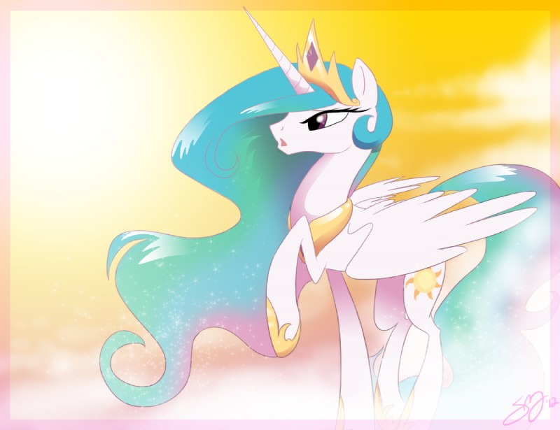 e621 cutie_mark equine famosity female feral friendship_is_magic horn horse my_little_pony pony princess_celestia_(mlp) solo winged_unicorn wings