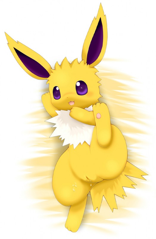 e621 :3 chibi cub cum cum_in_pussy cum_inside eeveelution female feral jolteon lying nintendo on_back open_mouth pokémon pokémon_(species) pussy raised_leg schnecken simple_background smile solo video_games white_background young