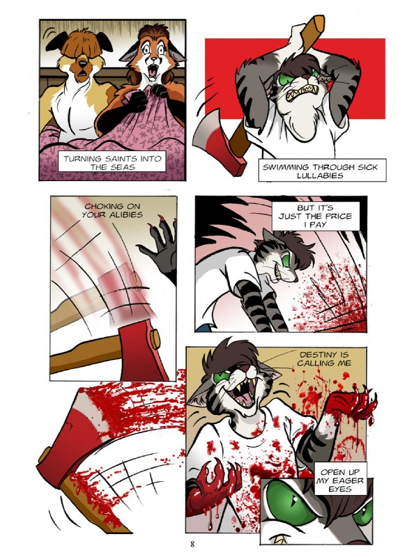 e621 2010 anthro axe blood canine cat comic death dog english_text feline female fox gore green_eyes hi_res killing male mammal melee_weapon mr._brightside roz_gibson song_lyrics stripes text violence weapon