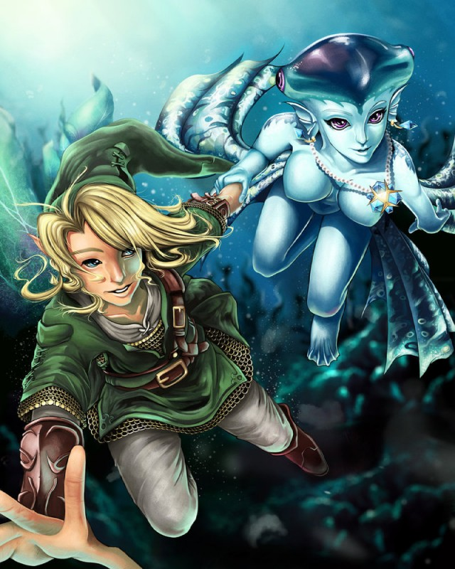 e621 breasts duo featureless_breasts female fish human humanoid jewelry link male mammal marine necklace nintendo nude ocarina_of_time pendant princess_ruto projectvirtue the_legend_of_zelda video_games zora zora's_sapphire