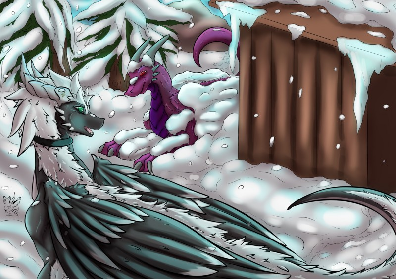 e621 absurd_res blush detailed_background dragon drayke feathers feral fluffy fur hi_res horn male nainporteki open_mouth outside scalie skellio snow snowing tree wings winter