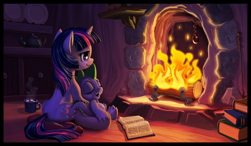 spike and twilight sparkle (friendship is magic and etc) drawn by harwick