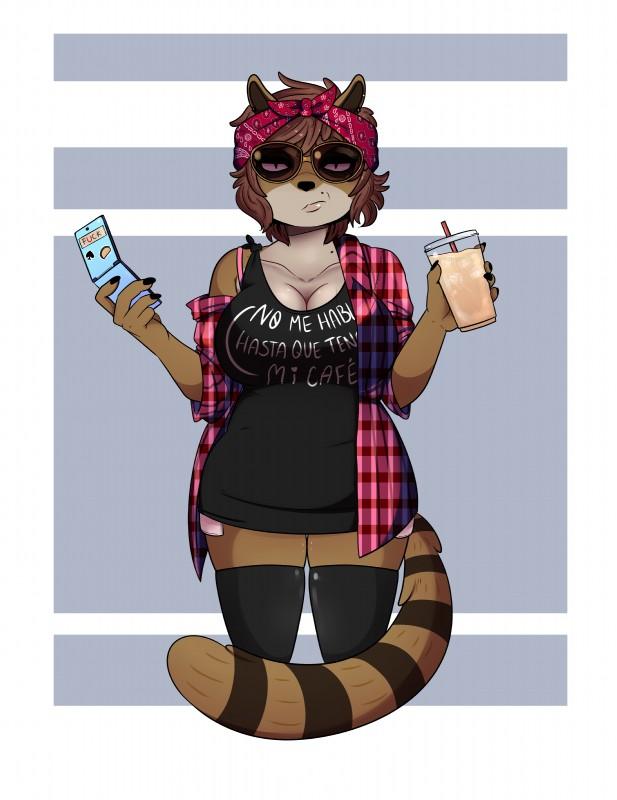 e621 absurd_res anthro babynarwhal big_breasts breasts brown_fur cartoon_network crossgender female fur hi_res mammal procyonid raccoon regular_show rigby_(regular_show) simple_background solo spanish_text text translated