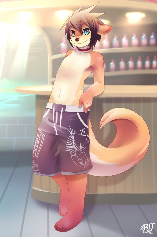 e621 3_toes absurd_res anthro bar beverage blue_eyes brown_fur brown_hair choker clothing collar collarbone cute disheveled_hair food fur hair heterochromia hi_res leaning leaning_back looking_at_viewer male mammal mustelid navel otter raised_eyebrows rudragon shorts smile smirk solo standing swimming_trunks swimsuit toes undressing white_fur