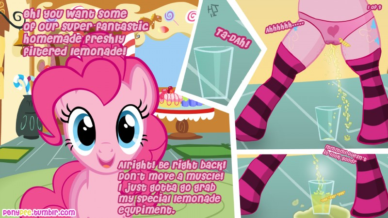 e621 16:9 2012 blue_eyes camel_toe clothing comic cutie_mark dialogue earth_pony english_text equine female feral friendship_is_magic fur hair hi_res horse inside looking_at_viewer mammal my_little_pony panties peeing pink_fur pink_hair pinkie_pie_(mlp) pony solo text underwear unknown_artist urine watersports wetting