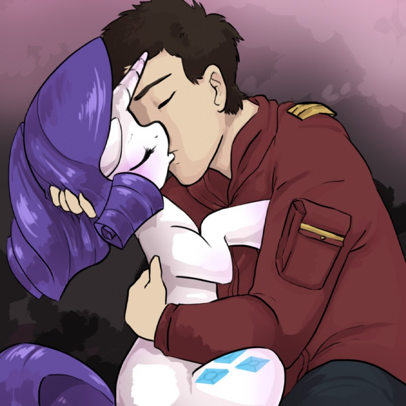 e621 bestiality clothed clothed_male_nude_female clothing cutie_mark digital_media_(artwork) duo embrace equine eyes_closed female feral friendship_is_magic hair horn human human_on_feral interspecies kissing love male male/female male_on_feral mammal my_little_pony nude quiltastic_ink rarity_(mlp) short_hair unicorn