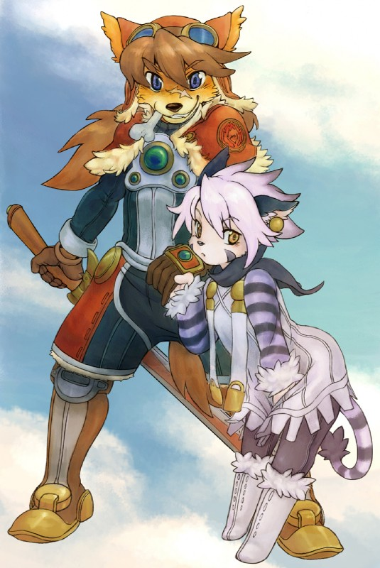 e621 ambiguous_gender armor blue_eyes bone boots brown_fur canine cat clothing detailed_background dog dress duo ear_piercing eyewear feline fur gloves goggles hair jacket looking_at_viewer orange_eyes piercing scar stripes sword unknown_artist weapon white_fur white_hair