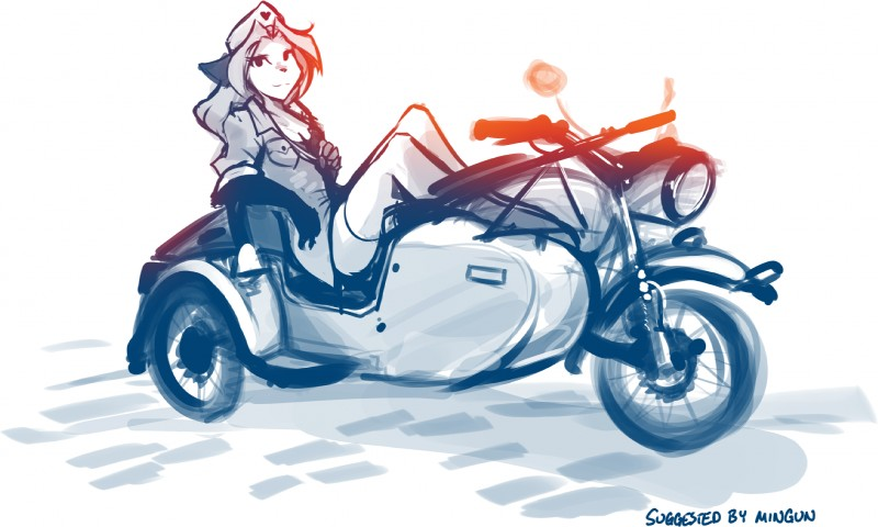 e621 2019 <3 anthro bichrome bottomless breasts canid canine cleavage clothed clothing digitigrade female fox gloves_(marking) hat hi_res keidran laura_(twokinds) legwear looking_at_viewer mammal markings motorcycle pose sidecar simple_background sitting sketch smile solo stockings thigh_highs tom_fischbach twokinds uniform vehicle webcomic white_background