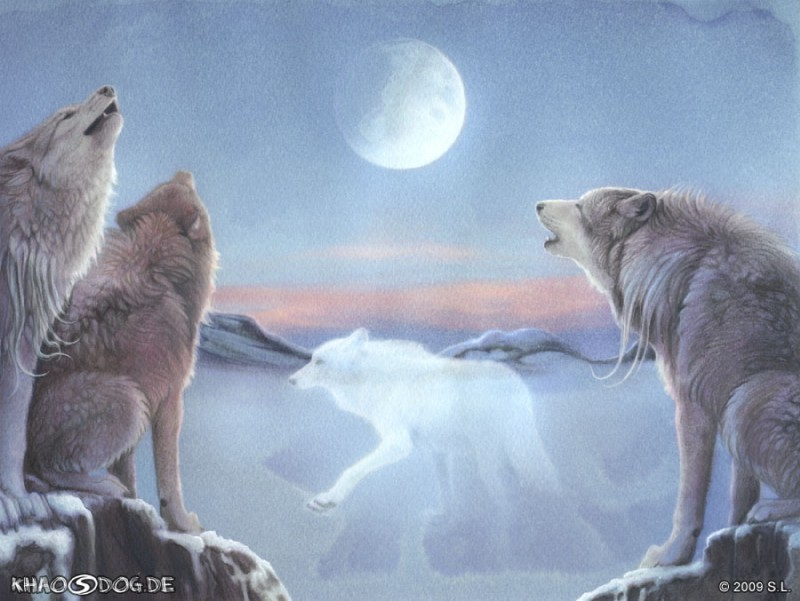 e621 2009 ambiguous_gender canine detailed_background digitigrade feral fluffy full_moon fur group howl khaosdog mammal moon nature night outside sitting sky snow spirit standing traditional_media_(artwork) white_fur wolf