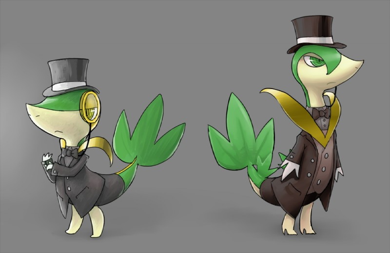 e621 bow_tie clothed clothing duo eyewear fan_character feral fully_clothed gloves hat longlevy male monocle nintendo pokémon pokémon_(species) reptile scalie servine snivy suit tangle terribly_british top_hat video_games