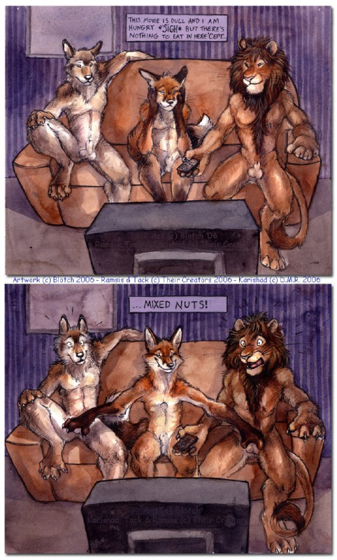 e621 ... 2006 animal_genitalia anthro ball_fondling balls blotch body_hair bored canid canine canis chest_tuft claws comic english_text felid fluffy fluffy_tail fondling fox front_view full-length_portrait fully_sheathed fur grope group happy_trail humor inside interspecies joke karishad lion male male/male mammal nude open_mouth pantherine portrait pun sheath shocked sitting smile sofa surprise teeth television text tongue traditional_media_(artwork) tuft whiskers wolf
