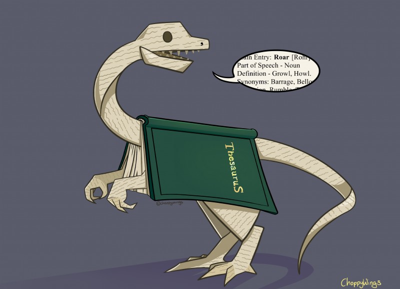 e621 2013 absurd_res alternate_species ambiguous_gender animate_inanimate book brown_eyes choppywings clever dialogue dinosaur english_text feral feralized furrification hi_res humor paper pun scalie sharp_teeth simple_background solo teeth text theropod thesaurus visual_pun