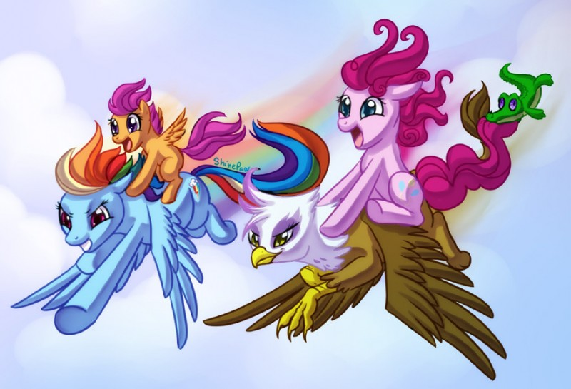 e621 alligator avian beak blue_eyes blue_feathers blue_fur crocodilian cub earth_pony equine feathered_wings feathers female feral friendship_is_magic fur gilda_(mlp) group gryphon gummy_(mlp) hair horse male mammal midair multicolored_hair my_little_pony pegasus pink_eyes pink_fur pink_hair pinkie_pie_(mlp) pony rainbow_dash_(mlp) rainbow_hair reptile scalie scootaloo_(mlp) shinepaw wings yellow_eyes young