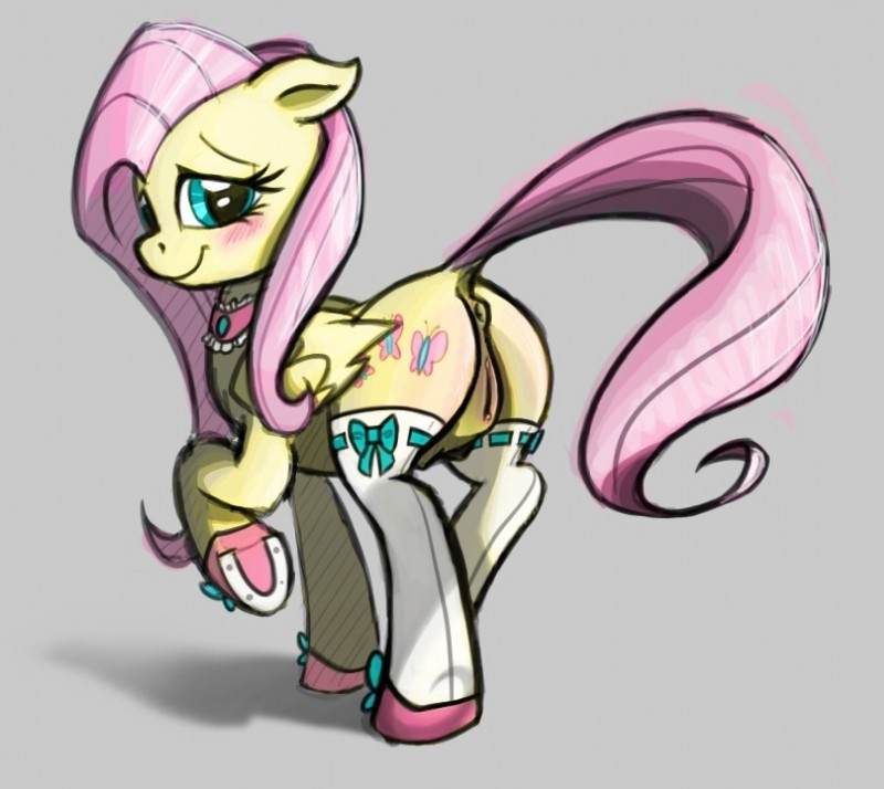 e621 2012 anus blue_eyes blush butt clothing deadnfurious equine feathered_wings feathers female feral fluttershy_(mlp) friendship_is_magic grey_background hair legwear lichfang looking_at_viewer looking_back mammal my_little_pony pegasus pink_hair presenting presenting_hindquarters pussy simple_background solo source_request stockings teats wings yellow_feathers