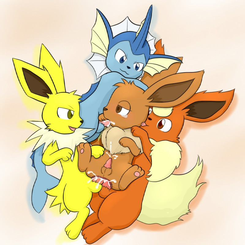 e621 anal anal_penetration balls canid canine chest_tuft cum cum_in_ass cum_in_mouth cum_inside cumshot cum_while_penetrated double_anal double_penetration eevee eeveelution ejaculation erection fellatio feral flareon foursome fur gangbang group group_sex hands-free jolteon knt licking male male/male mammal nintendo oral oral_penetration orgasm penetration penis pokémon pokémon_(species) sex tongue tongue_out tuft vaporeon video_games young