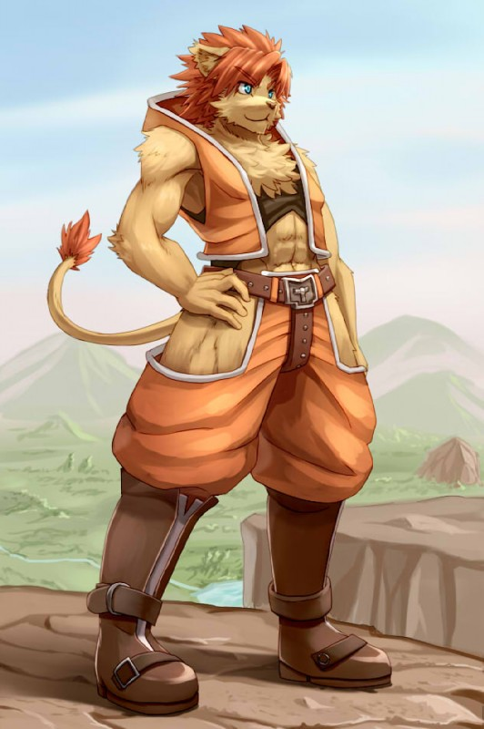 e621 abs anthro biri blue_eyes boots calua_napage chest_tuft cliff clothed clothing day felid footwear fur hair hand_on_hip inner_ear_fluff lion male mammal muscular muscular_male outside pantherine red_hair riot41 short_hair sky solatorobo solo standing tail_tuft tan_fur tuft vest video_games