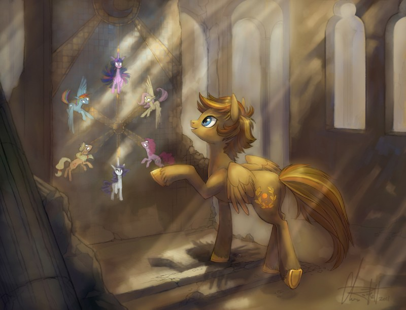 e621 2011 ancient applejack_(mlp) cutie_mark equine female feral fluttershy_(mlp) friendship_is_magic glyph gold golden_laurel horn horse kittiara mane my_little_pony pegasus pinkie_pie_(mlp) pony rainbow_dash_(mlp) rarity_(mlp) ruins twilight_sparkle_(mlp) unicorn wings