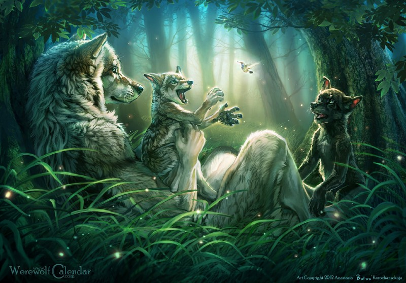 e621 amazing_background ambiguous_gender anthro avian balaa bird canine cub detailed_background feral forest group hummingbird mammal nature outside tree wolf wood young