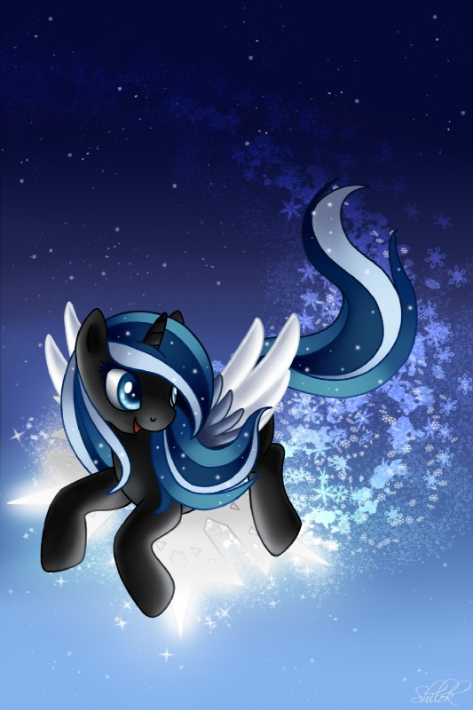 e621 black_fur blue_eyes blue_feathers blue_hair equid fan_character feathered_wings feathers female feral flying fur hair hi_res horn mammal multicolored_hair my_little_pony shilokh smile snowdrift snowflake solo star watermark white_feathers winged_unicorn wings