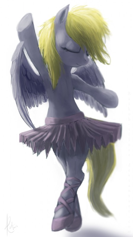e621 2012 ballet blonde_hair clothing derpy_hooves_(mlp) equine eyes_closed feathered_wings feathers female footwear friendship_is_magic fur grey_feathers grey_fur hair mammal my_little_pony pegasus raikoh-illust shoes simple_background solo tutu white_background wings
